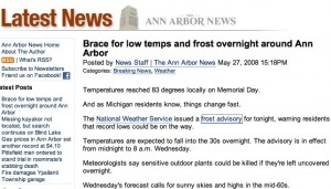 Frost Advisory News Story