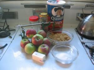 Ingredients for Solar Apple Crisp