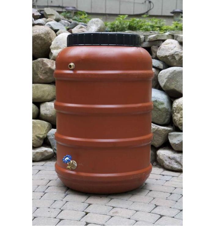 An example of a rain barrel
