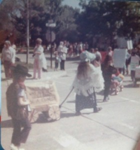 """When the land was new, it was clean! Be a Pioneer!"" My brother and I in the Clean Up Parade, 1973"