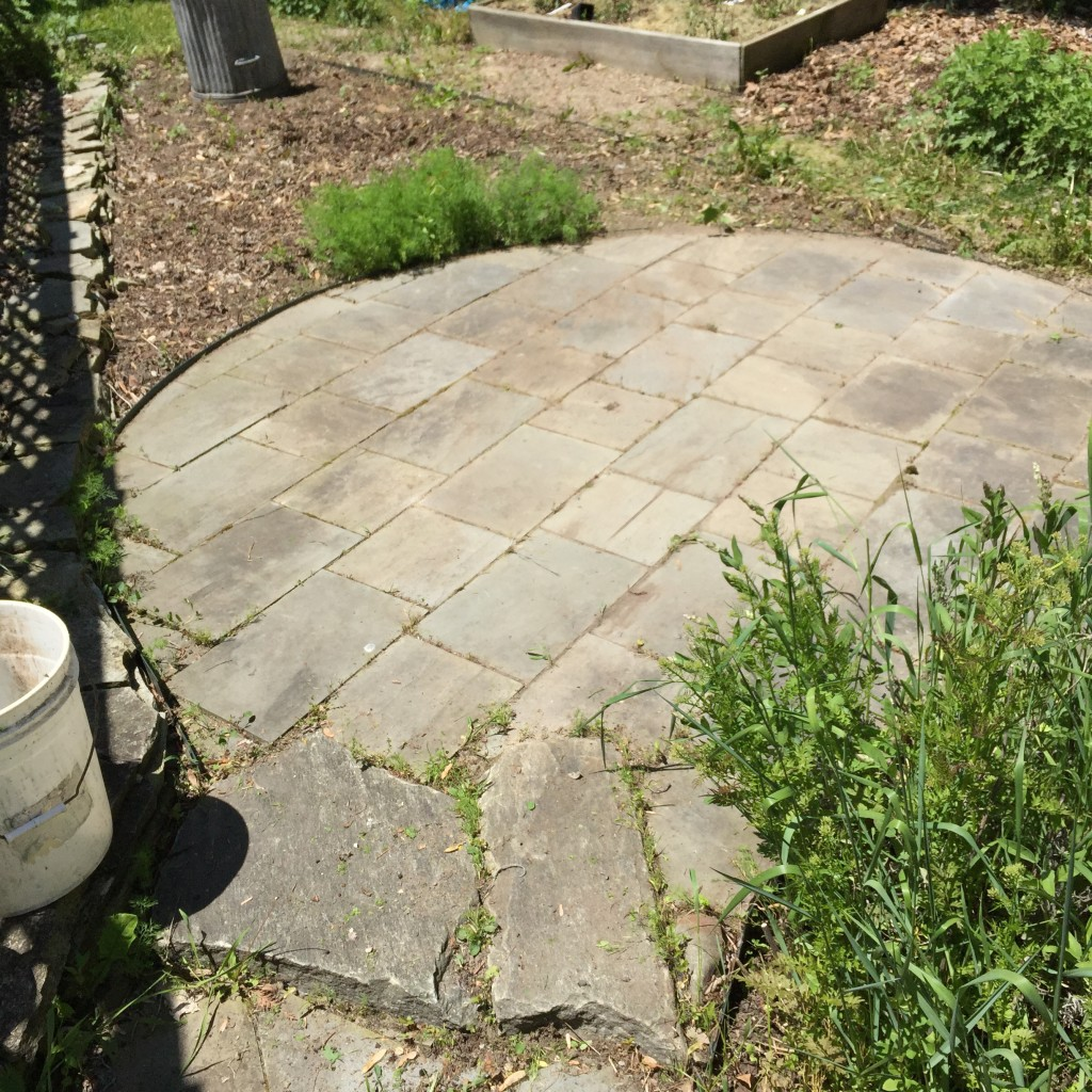 This stone patio is the heart of our garden, its vital center.